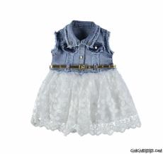 Tüllü Kız Çocuk Kot Elbise