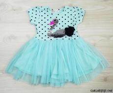 Kuğulu Tüllü Kız Çocuk Elbise