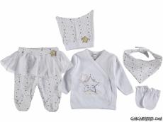 Yıldızlı Tütülü 5 Parça Bebek Zıbın Seti