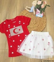 Türk Bayraklı Etekli Kız Çocuk 23 Nisan Takım