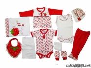 Çilek Aplikeli 10 Parça Bebe Zıbın Seti