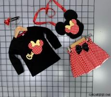 Taçlı Çantalı Mini Kız Çocuk Takım