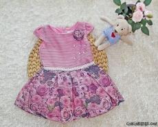 Güllü Beli Taşlı Kız Çocuk Elbise