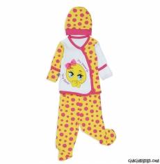 Kız Bebek Emoji 3'lü Zıbın Seti
