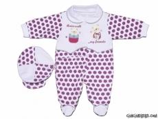 Ayıcık Nakışlı Puanlı Bebe Tulum