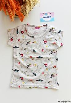 Kuş Baskılı Kız Çocuk T-Shirt