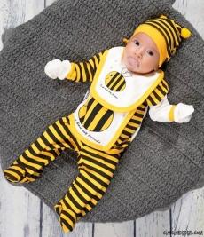Arı Figürlü 5 Parça Bebe Zıbın