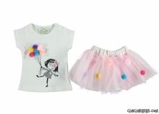 Ponponlu Tütülü Kız Bebek Takım