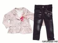 Şık Ceketli Kot Pantalonlu Kız Takım