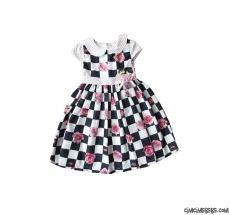 Damalı Güllü Kız Çocuk Elbise