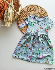 Unicorn Baskılı Kız Çocuk Elbise