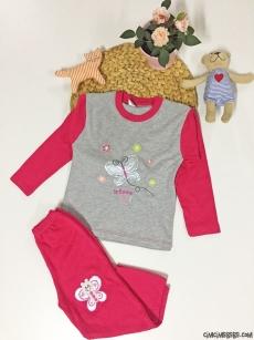 Kelebek Nakışlı Kız Çocuk Pijama Takımı