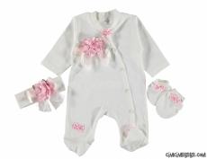 Çiçekli Kokoş Bebek Tulum Seti