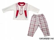Kravat Baskılı Çizgili Bebe Pijama Takımı