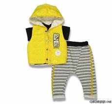 Yelekli 3'lü Yazlık Bebek Takım