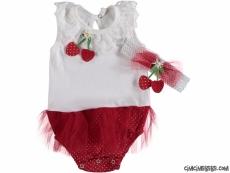 Çilek Badili Kız Bebek Elbise
