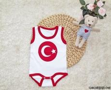 Türk Bayrağı Baskılı Askılı Bebek Badi