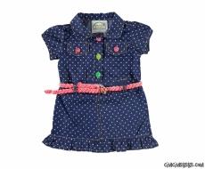 Kız Bebek Kemerli İnce Kot Elbise