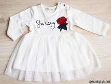 Tüllü Gül Aplikeli Kız Elbise