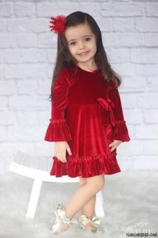 Fiyonklu Kadife Kız Bebek Elbise