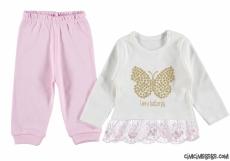 Butterfly Dantel Detaylı Kız Bebek Takım