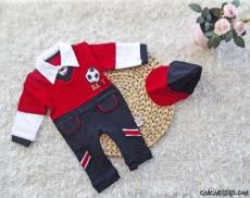 Lacost Kumaşlı Şapkalı Bebek Tulum