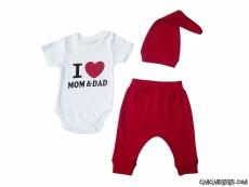I Love Mom Dad Badili 3'lü Takım