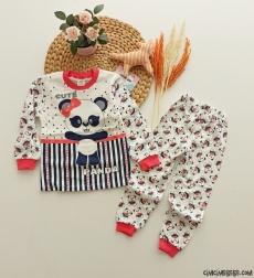 Panda Baskılı Kız Çocuk Pijama Takımı