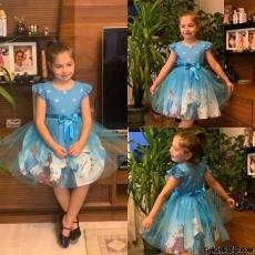 Karlar Ülkesi Sevimli Kız Çocuk Elbise