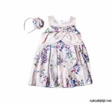 Taçlı Çiçekli Kız Çocuk Elbise