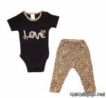 Love Nakışlı Leoparlı Bebe Takımı