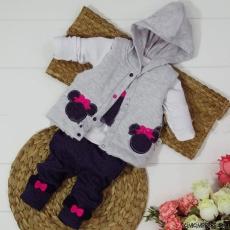 Şişme Yelekli Fareli 3'lü Kız Bebek Takım