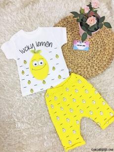 Limonlu Şortlu Bebek Takım