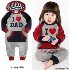 I Love Dad Kapşonlu Bebek Tulum