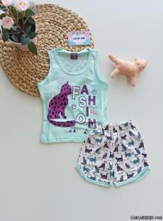 Pisili Şortlu Kız Çocuk Pijama Takımı