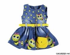Arılı Çantalı Kız Çocuk Kot Elbise