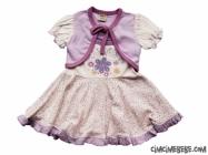 Bolerolu Çiçek Nakışlı Bebe Elbise