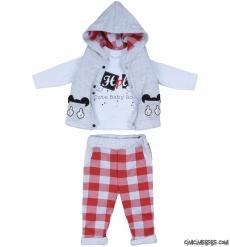 Erkek Bebek Şişme Yelekli 3'lü Takım