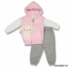 Tavşan Welsoft Yelekli 3'lü Bebek Takım