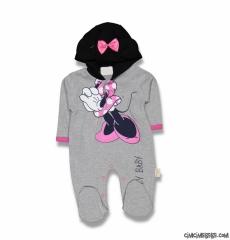 Minik Fare Kız Bebek Kapşonlu Tulum