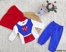 Süper Kahraman Pelerinli Bebek Takım
