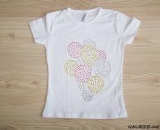 Taşlı Balonlu Kız Çocuk T-Shirt