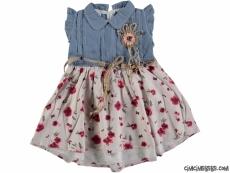 Eteği Çiçekli Kot Bebek Elbise