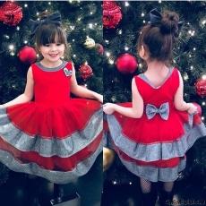 Simli Tüllü Şık Kız Çocuk Elbise