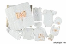 Fiyonk Süslemeli 11 Parça Bebe Zıbın Seti