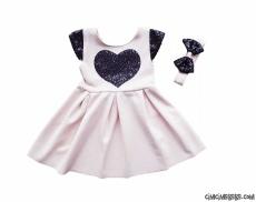 Pullu Kalpli Kız Çocuk Elbise