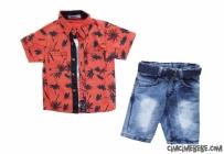Palmiye Baskılı Gömlekli 3'lü Şortlu Takım