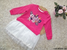 Eteği Tüllü Nakışlı Kız Çocuk Elbise