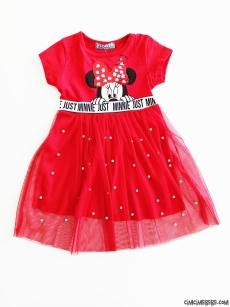 İncili Tül Etekli Kız Çocuk Elbise