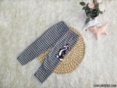Ekoseli Pullu Kışlık Kız Çocuk Tayt